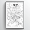 Leeds City Map Art Print - Point Two Design