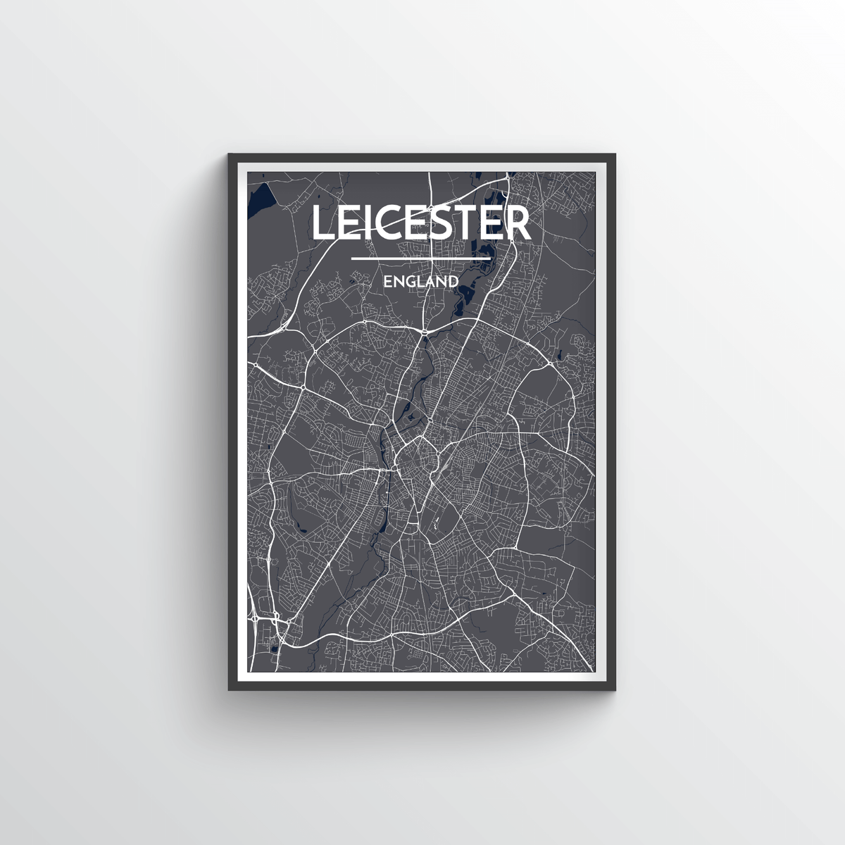 Leicester City Map Art Print - Point Two Design - Black & White Print