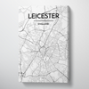 Leicester City Map Canvas Wrap - Point Two Design - Black & White Print