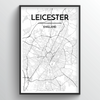 Leicester City Map Art Print - Point Two Design