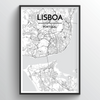 Lisboa City Map Art Print - Point Two Design