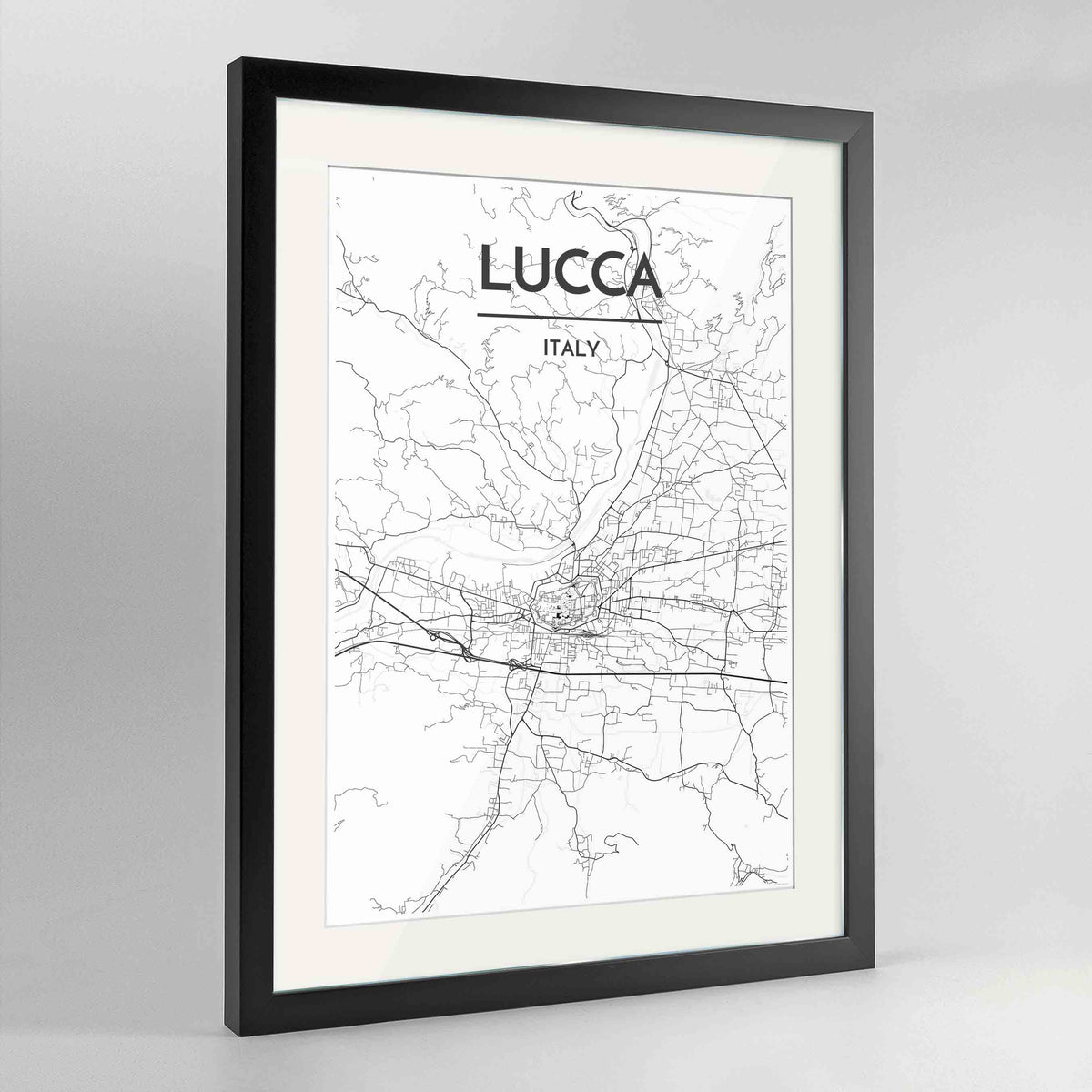 "Framed Lucca Map Art Print 24x36"" Contemporary Black frame Point Two Design Group"