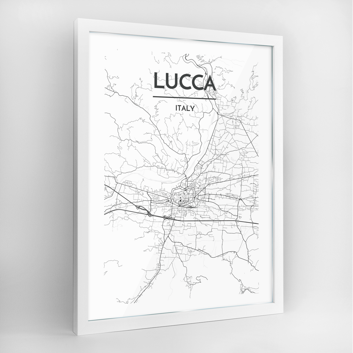 Lucca Map Art Print - Framed
