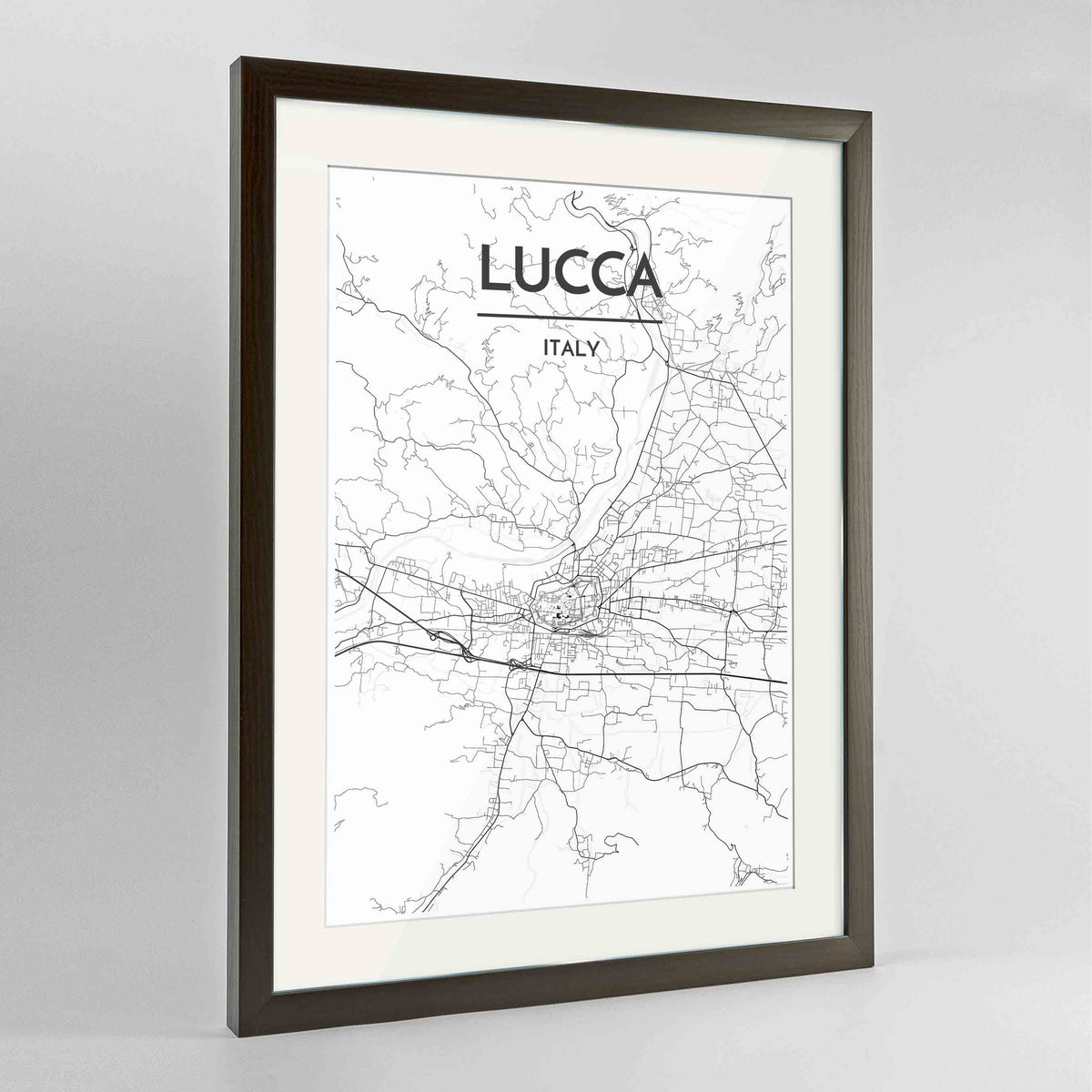"Framed Lucca Map Art Print 24x36"" Contemporary Walnut frame Point Two Design Group"