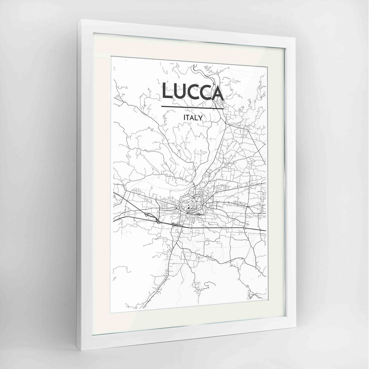 "Framed Lucca Map Art Print 24x36"" Contemporary White frame Point Two Design Group"