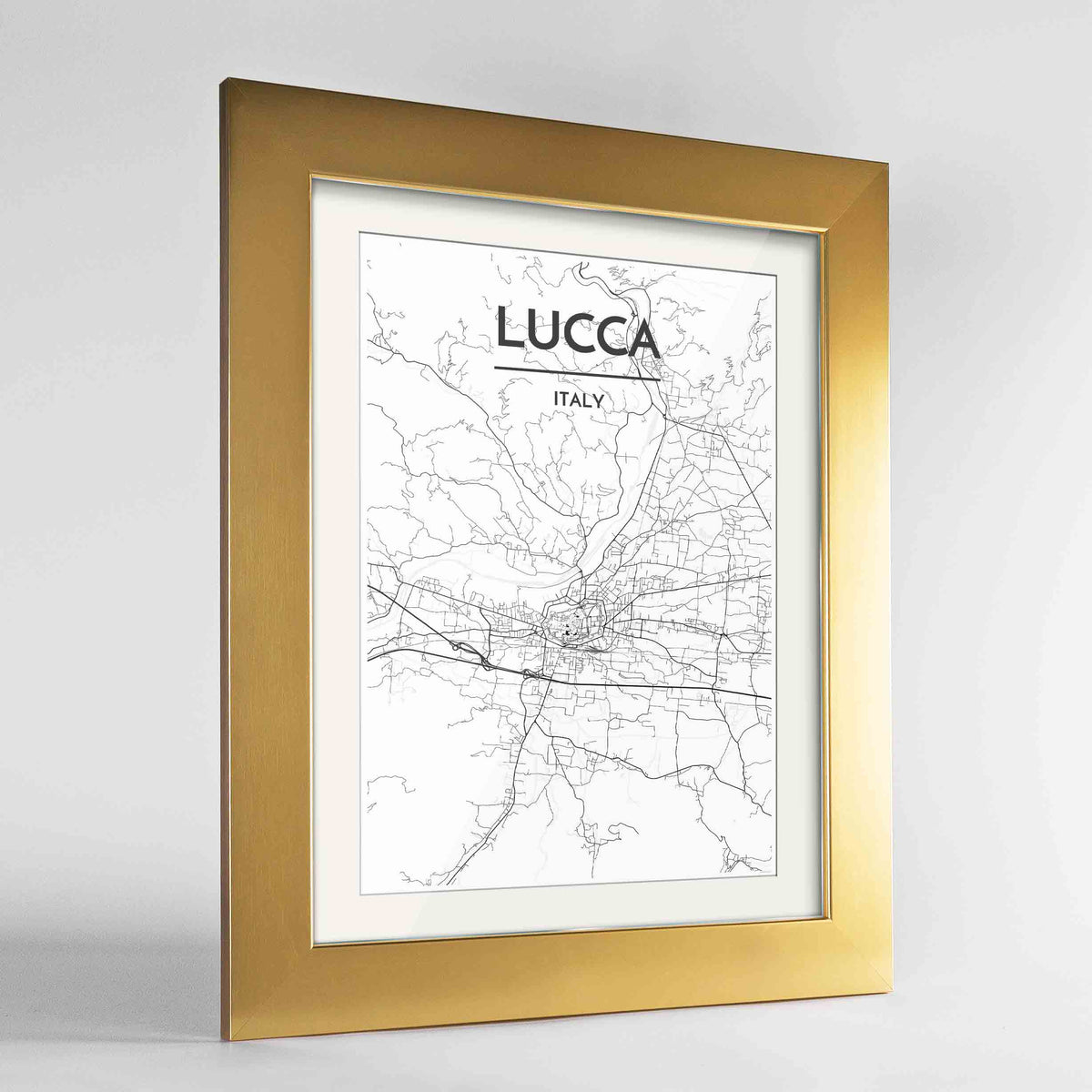"Framed Lucca Map Art Print 24x36"" Gold frame Point Two Design Group"