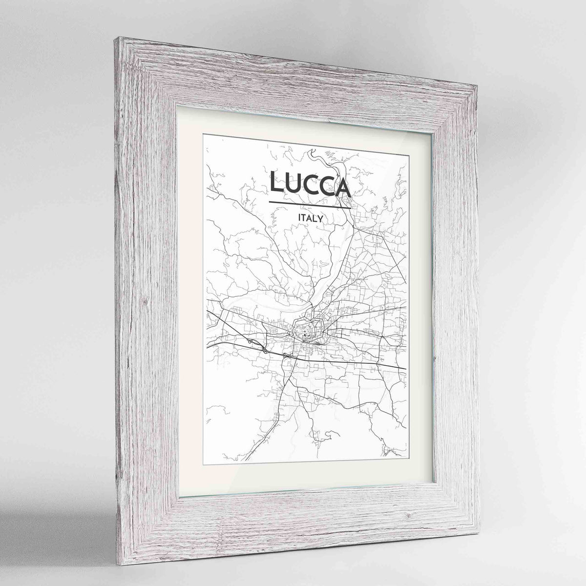 "Framed Lucca Map Art Print 24x36"" Western White frame Point Two Design Group"