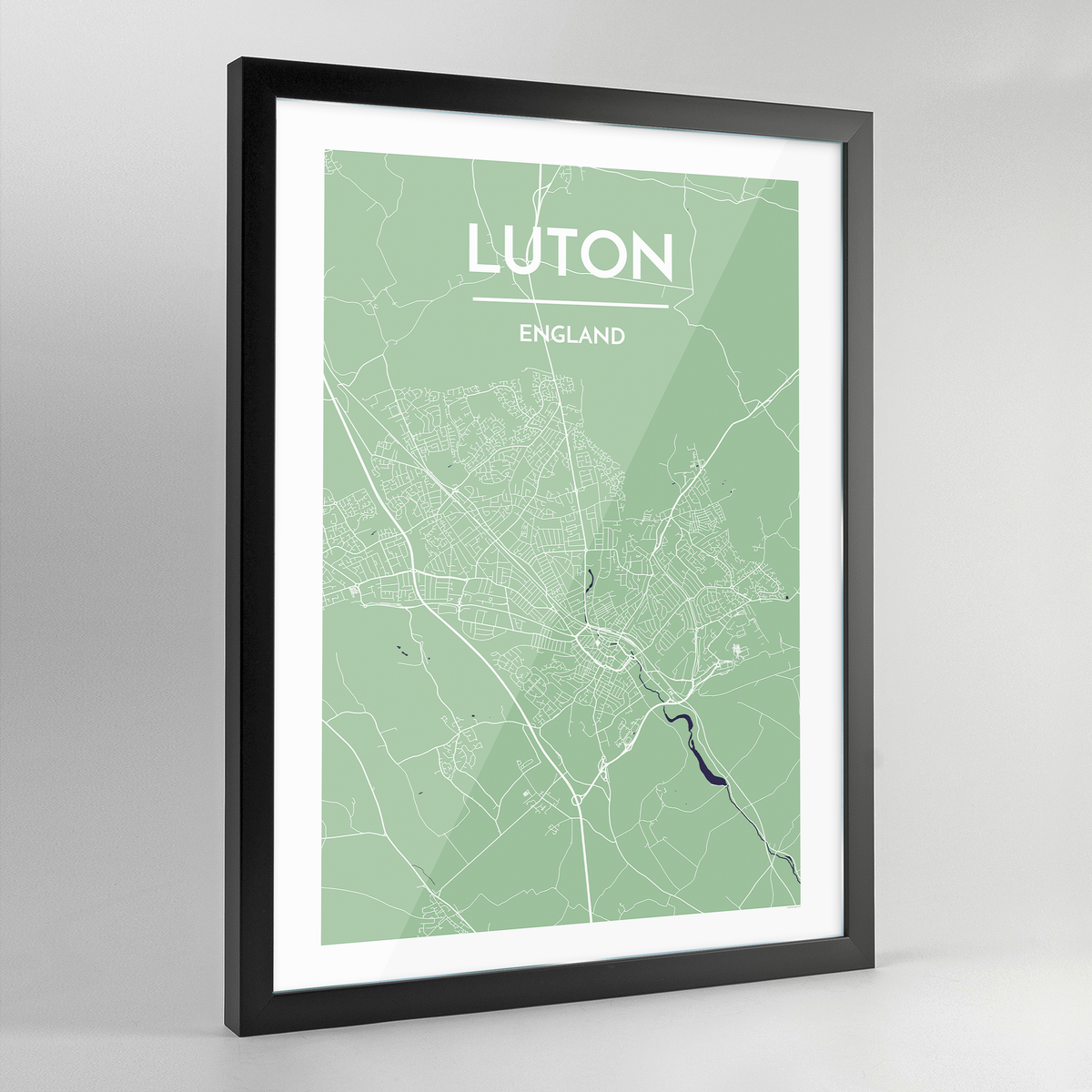 Framed Luton City Map Art Print - Point Two Design