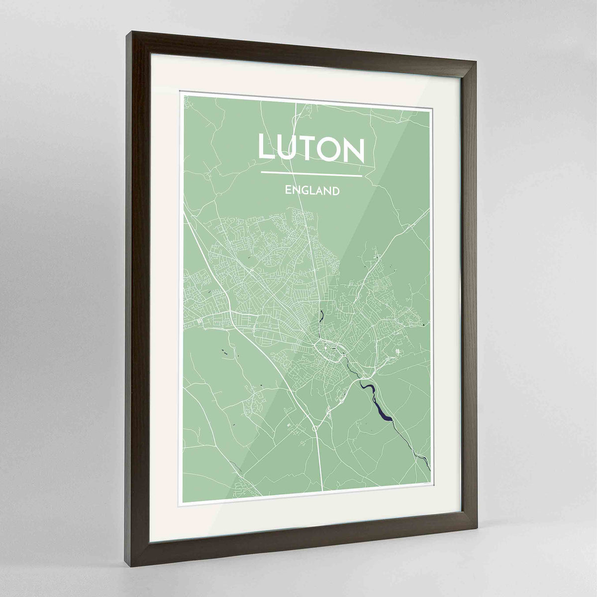 "Framed Luton Map Art Print 24x36"" Contemporary Walnut frame Point Two Design Group"