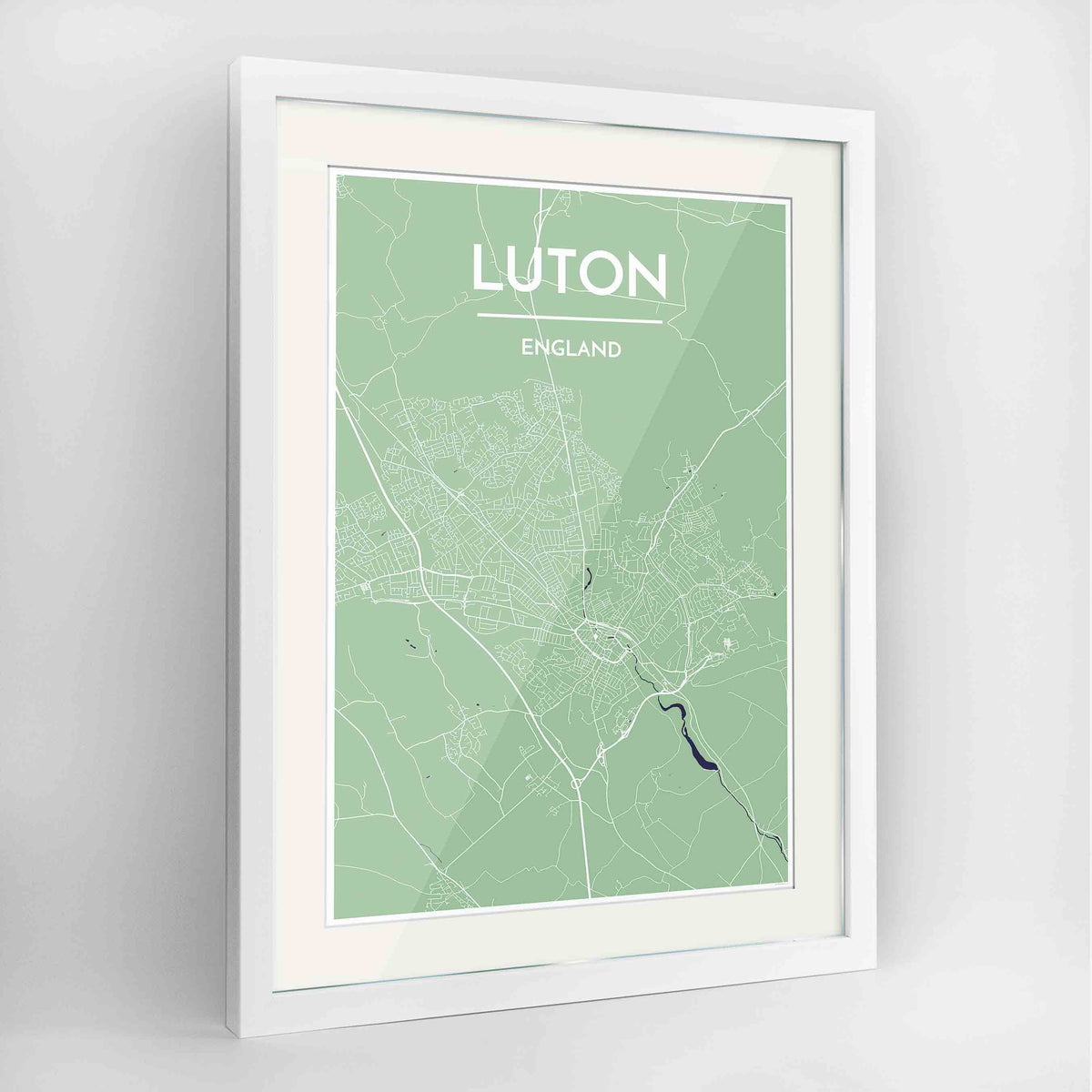 "Framed Luton Map Art Print 24x36"" Contemporary White frame Point Two Design Group"