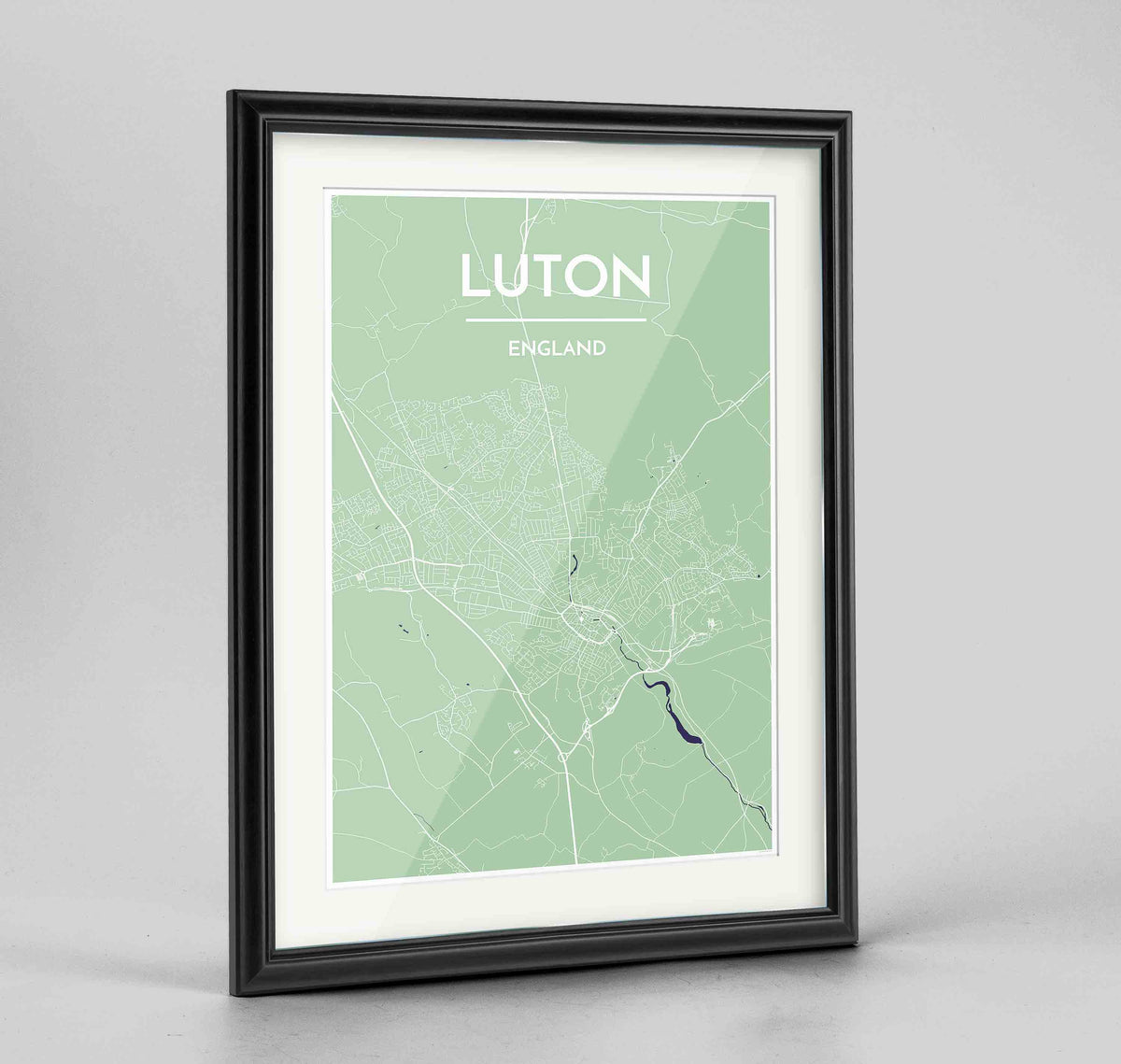 "Framed Luton Map Art Print 24x36"" Traditional Black frame Point Two Design Group"