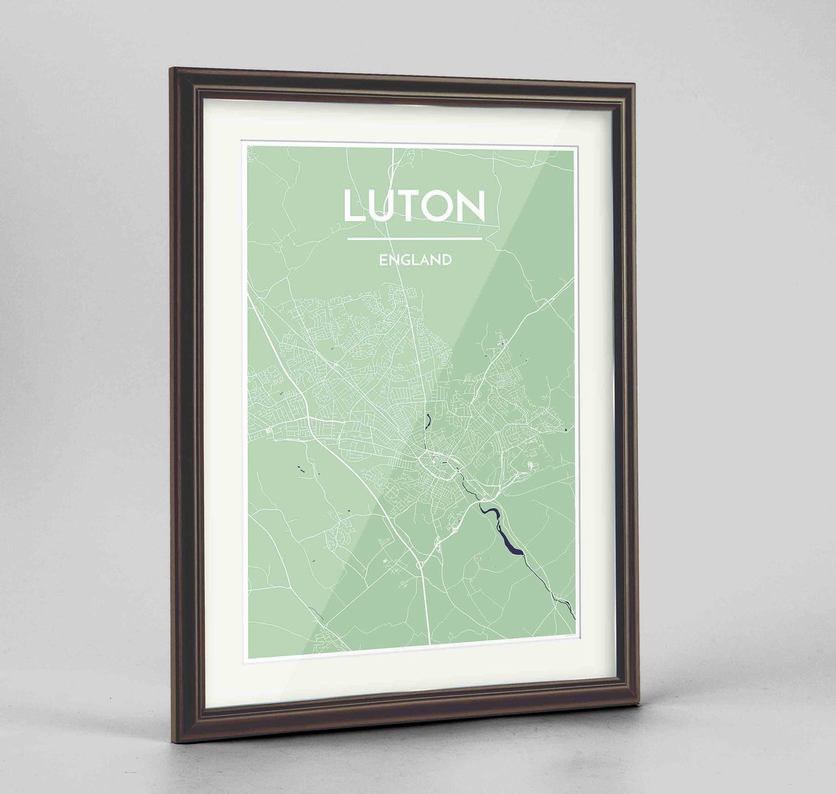 "Framed Luton Map Art Print 24x36"" Traditional Walnut frame Point Two Design Group"