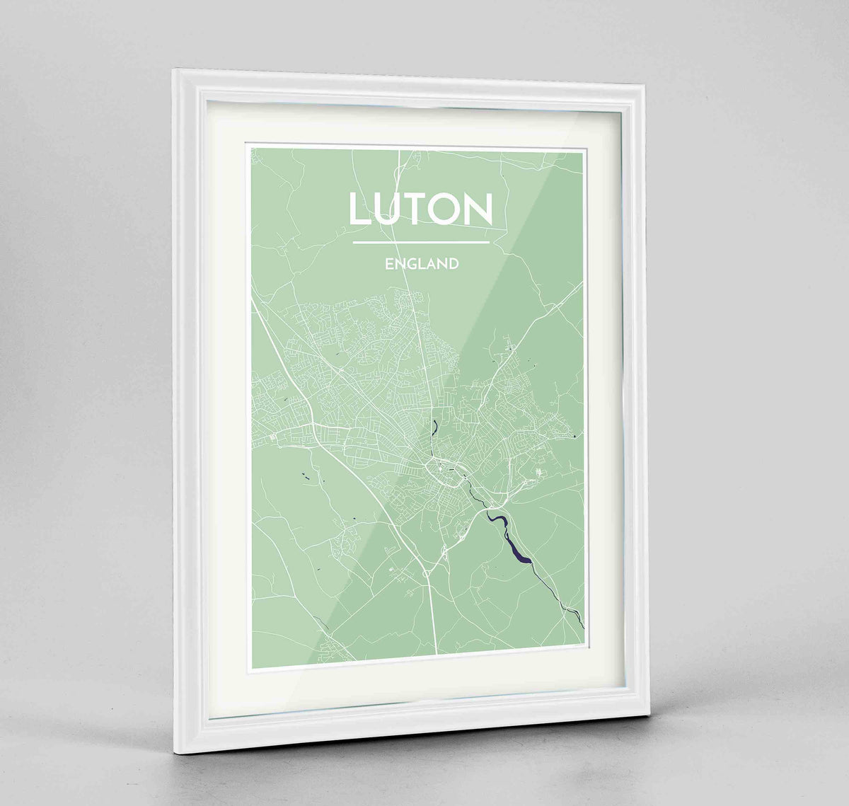 "Framed Luton Map Art Print 24x36"" Traditional White frame Point Two Design Group"