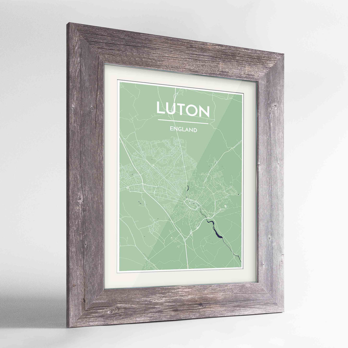 "Framed Luton Map Art Print 24x36"" Western Grey frame Point Two Design Group"