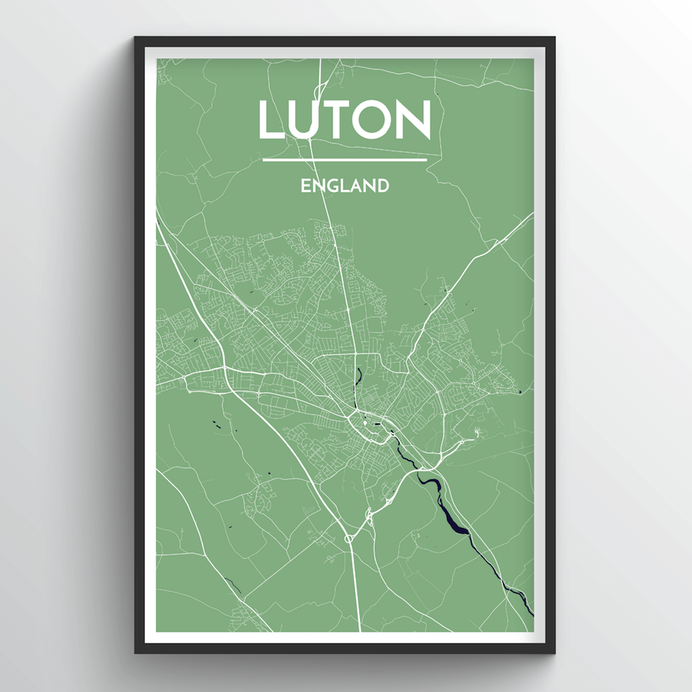 Luton City Map Art Print - Point Two Design