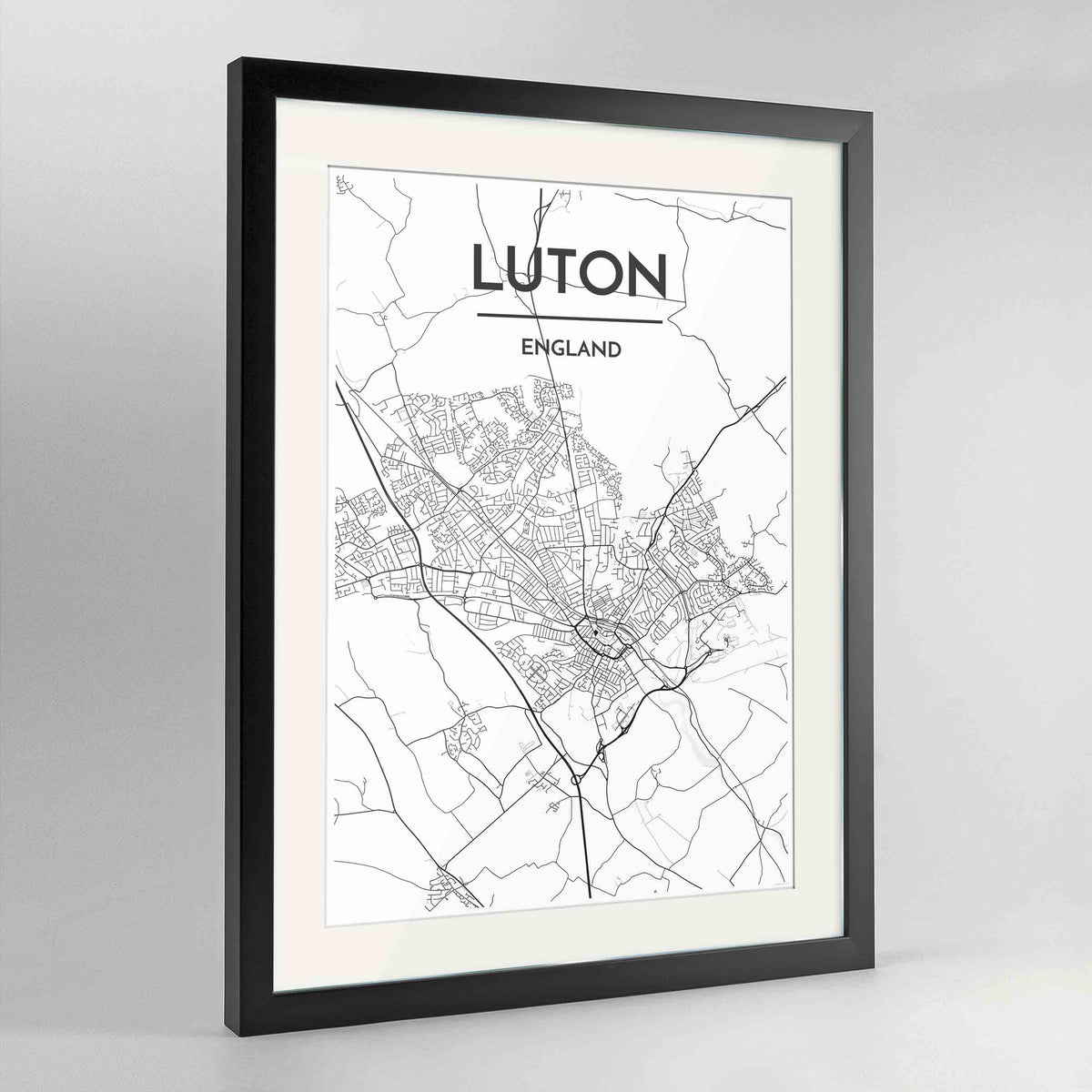 "Framed Luton Map Art Print 24x36"" Contemporary Black frame Point Two Design Group"