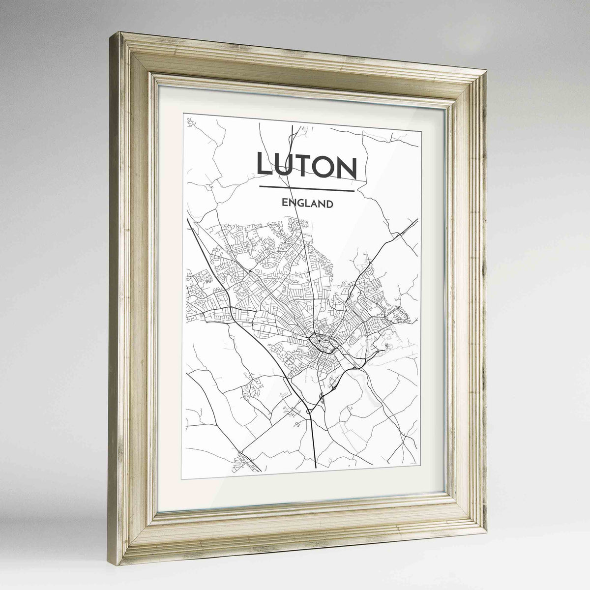 "Framed Luton Map Art Print 24x36"" Champagne frame Point Two Design Group"
