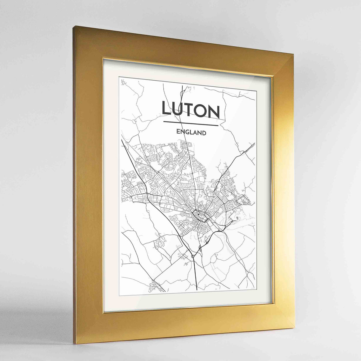 "Framed Luton Map Art Print 24x36"" Gold frame Point Two Design Group"