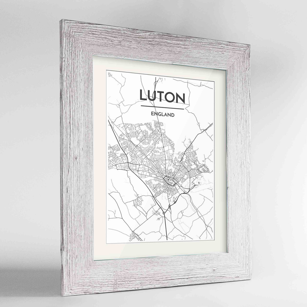 "Framed Luton Map Art Print 24x36"" Western White frame Point Two Design Group"