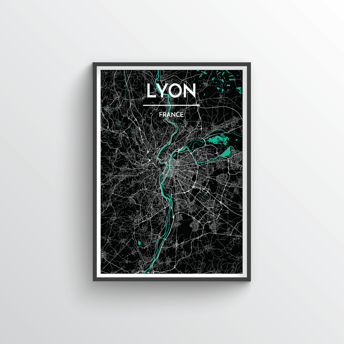 Lyon City Map Art Print - Point Two Design - Black & White Print