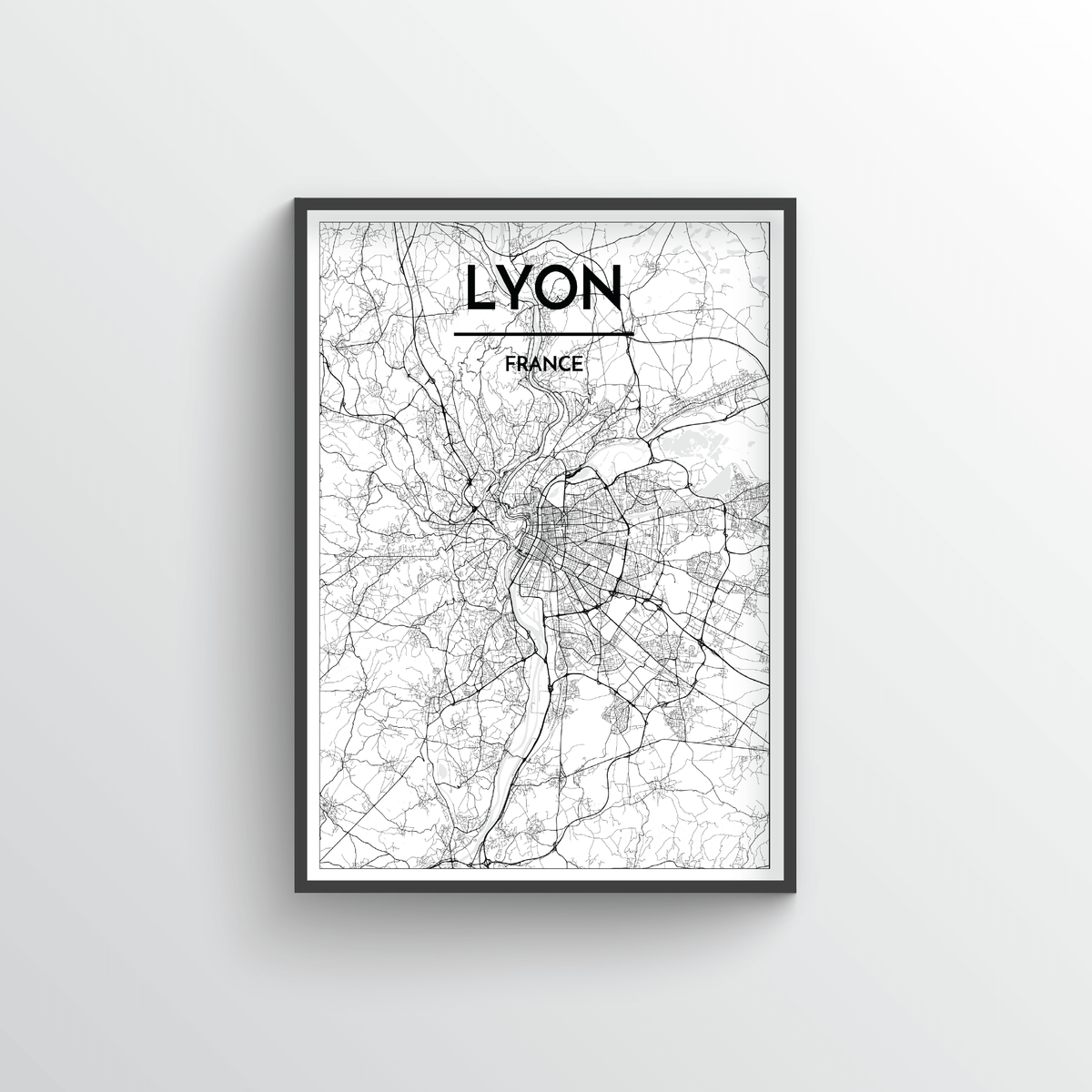 Lyon City Map Art Print - Point Two Design