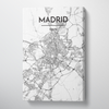 Madrid City Map Canvas Wrap - Point Two Design - Black & White Print