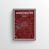 Manchester City Map Art Print - Point Two Design - Black & White Print