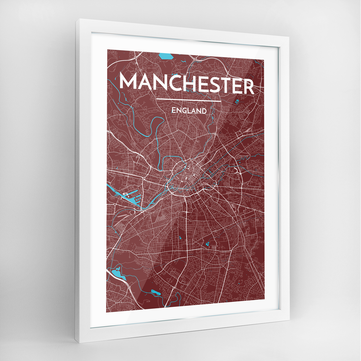 Manchester Map Art Print - Framed