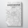 Manchester City Map Canvas Wrap - Point Two Design - Black & White Print