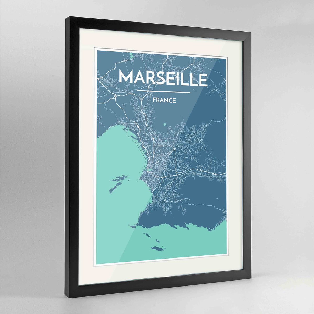 "Framed Marseille Map Art Print 24x36"" Contemporary Black frame Point Two Design Group"