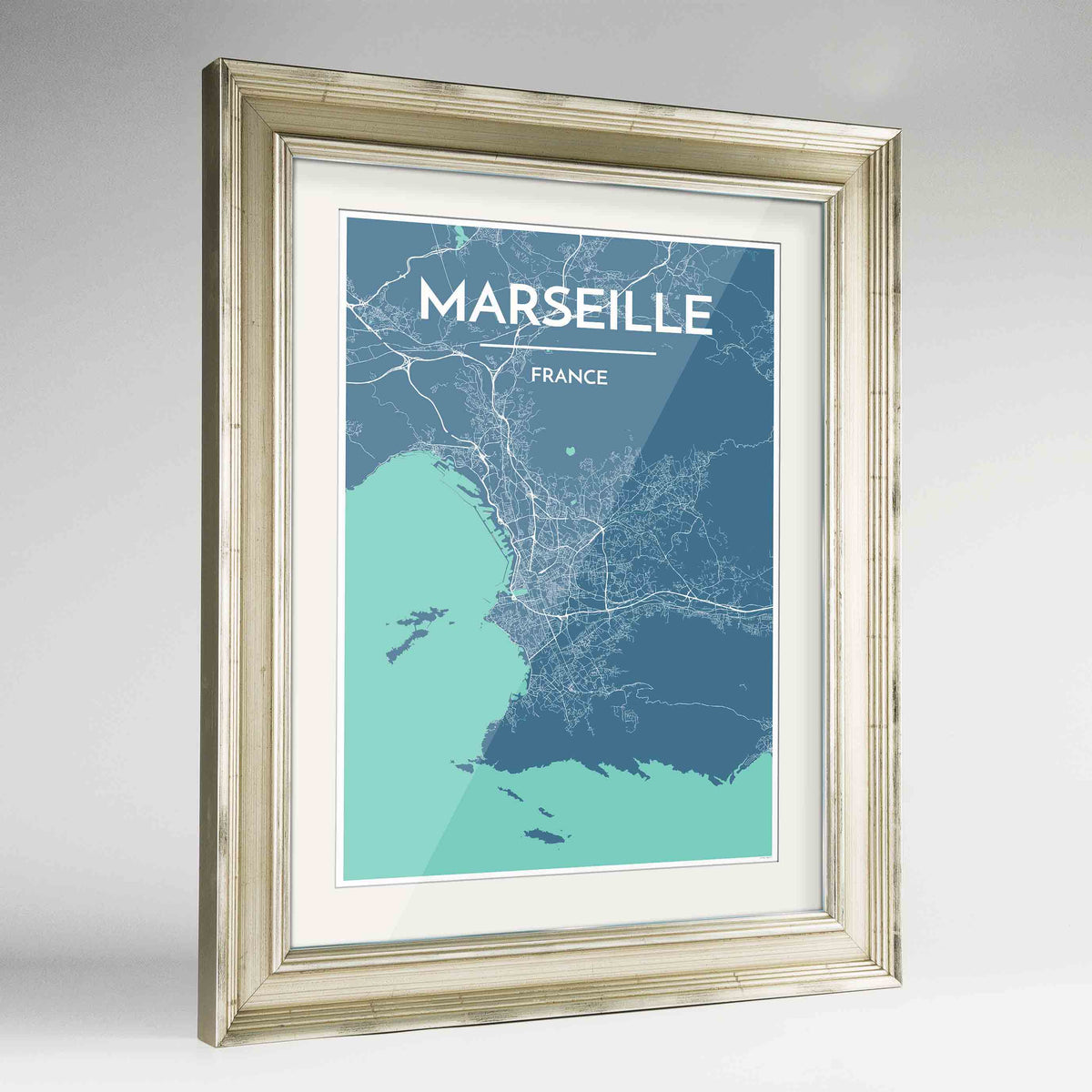 "Framed Marseille Map Art Print 24x36"" Champagne frame Point Two Design Group"