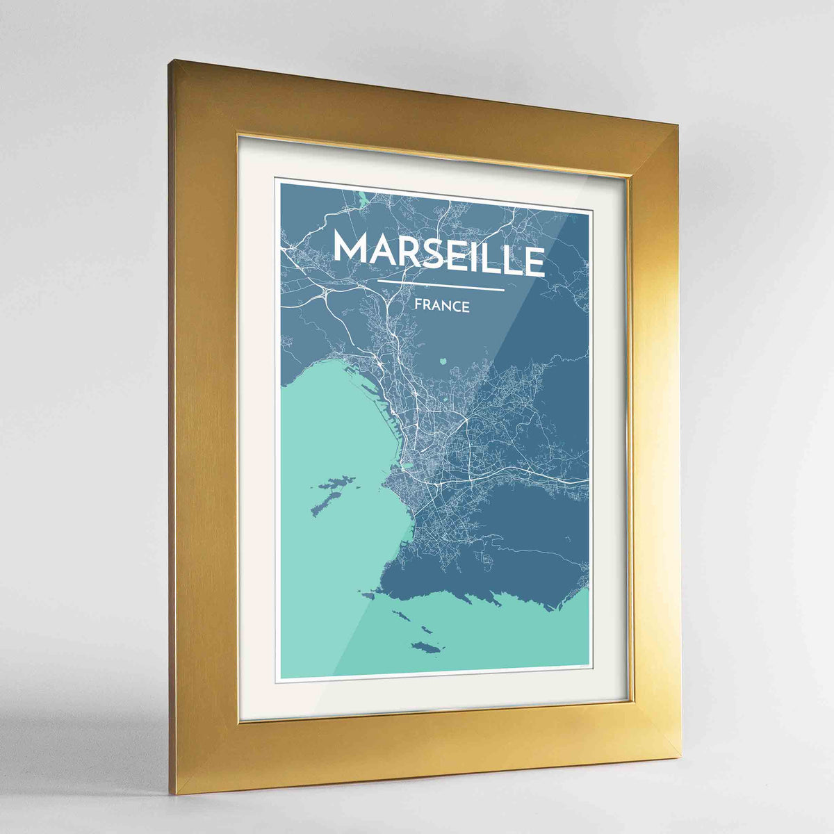"Framed Marseille Map Art Print 24x36"" Gold frame Point Two Design Group"