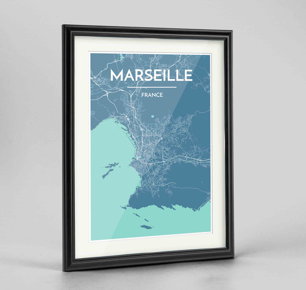 "Framed Marseille Map Art Print 24x36"" Traditional Black frame Point Two Design Group"