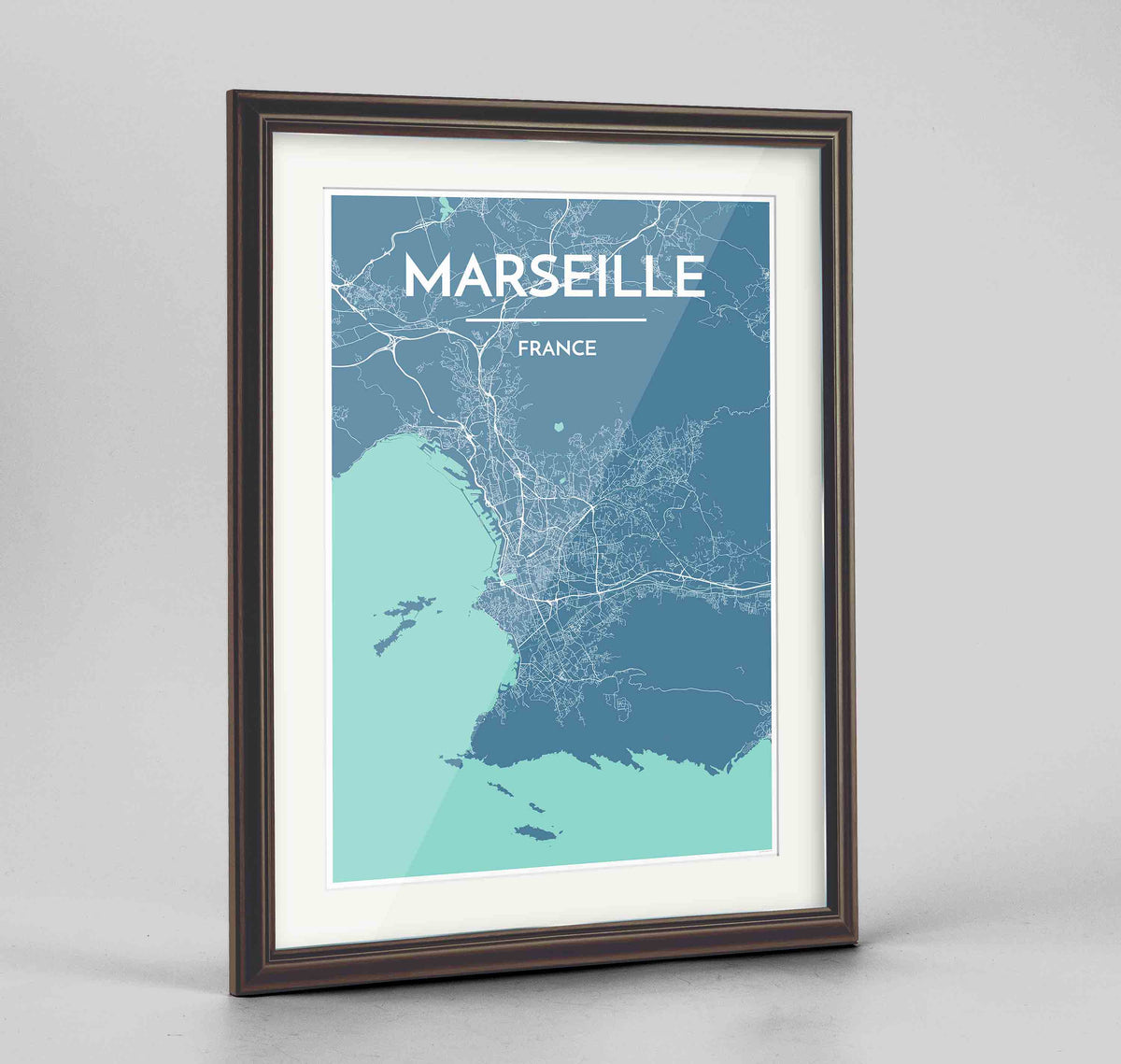 "Framed Marseille Map Art Print 24x36"" Traditional Walnut frame Point Two Design Group"