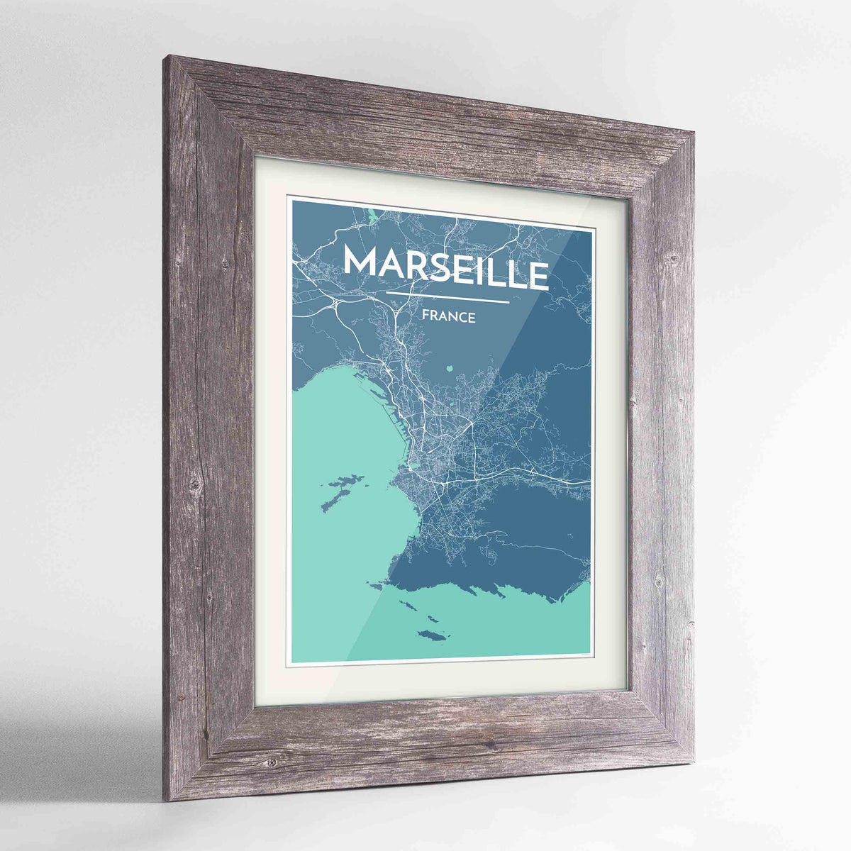 "Framed Marseille Map Art Print 24x36"" Western Grey frame Point Two Design Group"