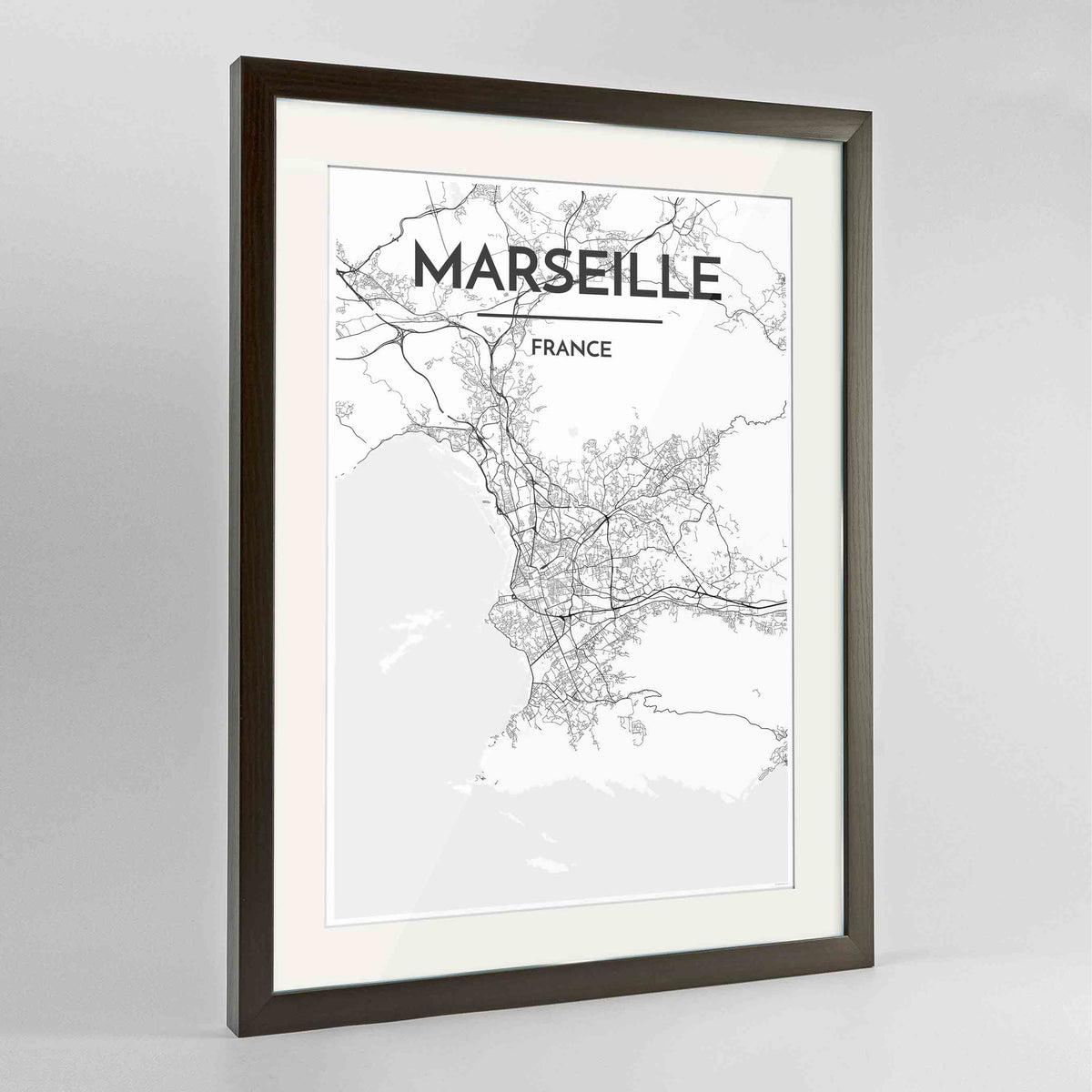 "Framed Marseille Map Art Print 24x36"" Contemporary Walnut frame Point Two Design Group"