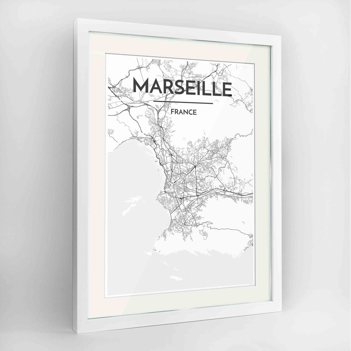 "Framed Marseille Map Art Print 24x36"" Contemporary White frame Point Two Design Group"