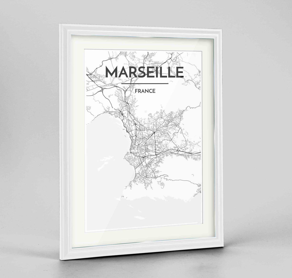 "Framed Marseille Map Art Print 24x36"" Traditional White frame Point Two Design Group"