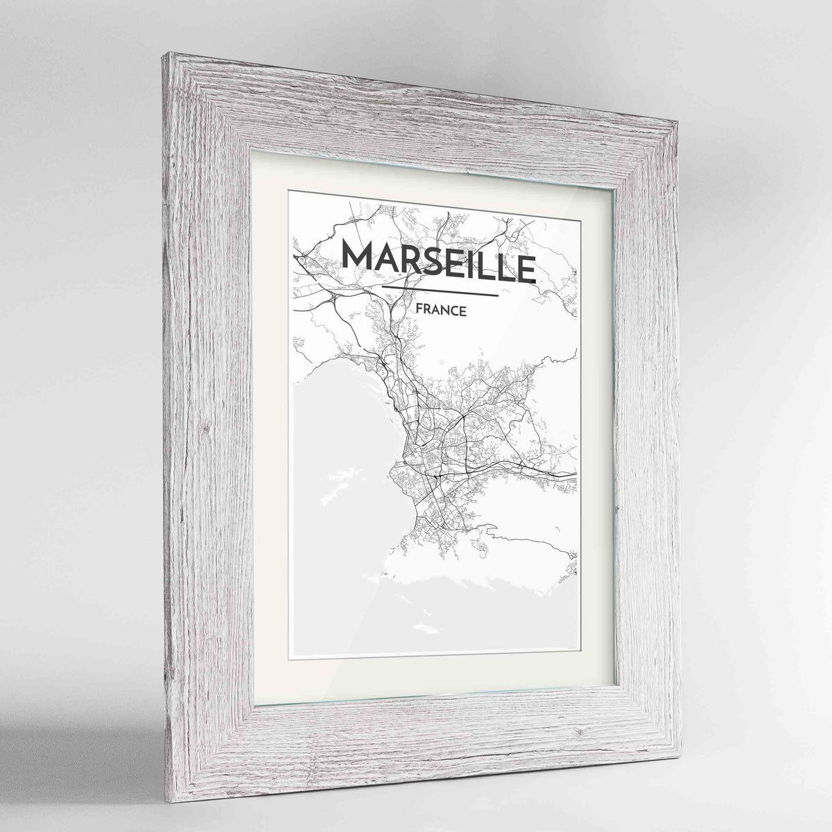"Framed Marseille Map Art Print 24x36"" Western White frame Point Two Design Group"