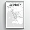 Marseille City Map Art Print - Point Two Design
