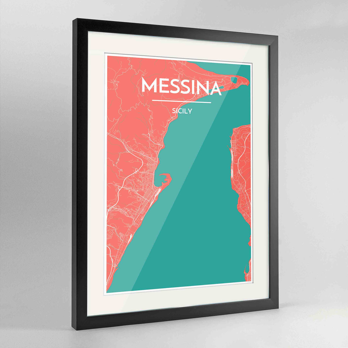 "Framed Messina Map Art Print 24x36"" Contemporary Black frame Point Two Design Group"