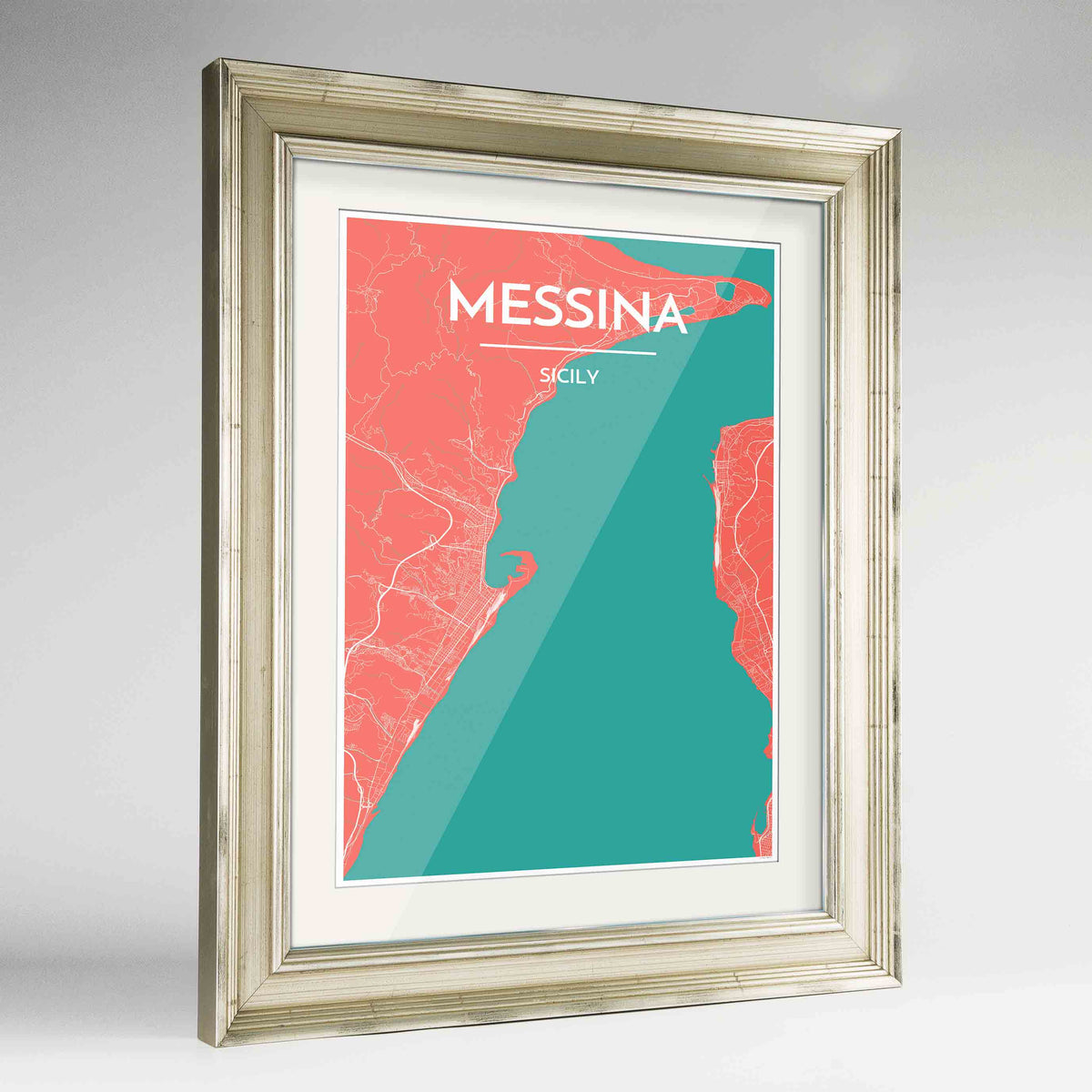 "Framed Messina Map Art Print 24x36"" Champagne frame Point Two Design Group"