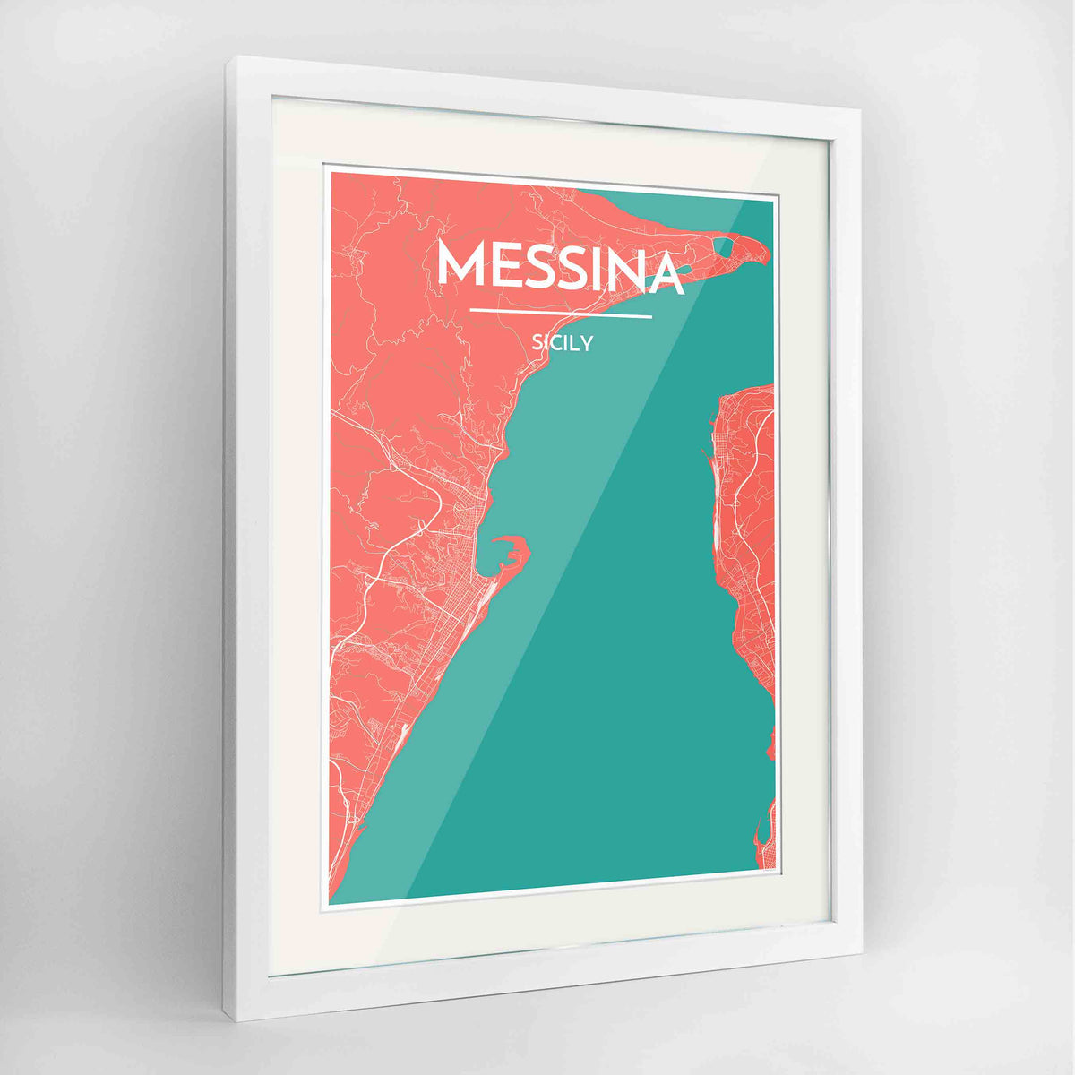 "Framed Messina Map Art Print 24x36"" Contemporary White frame Point Two Design Group"