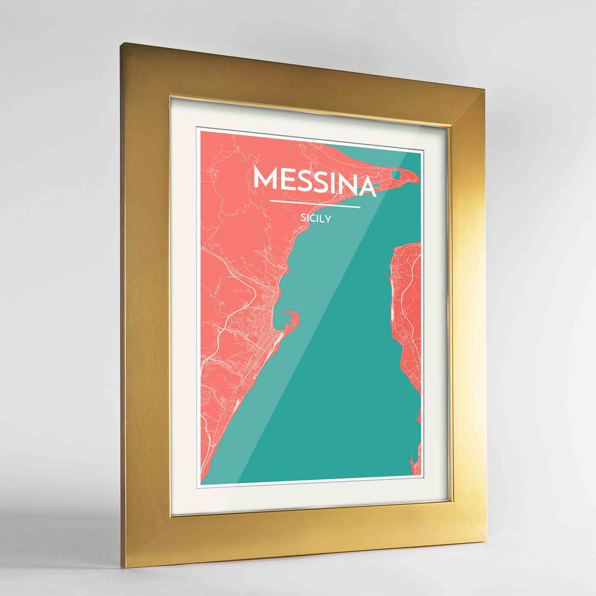 "Framed Messina Map Art Print 24x36"" Gold frame Point Two Design Group"
