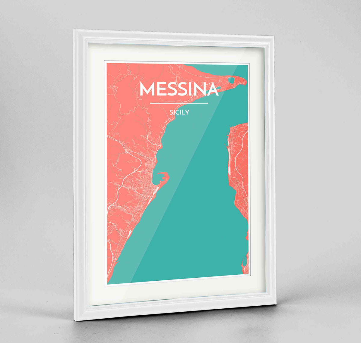 "Framed Messina Map Art Print 24x36"" Traditional White frame Point Two Design Group"