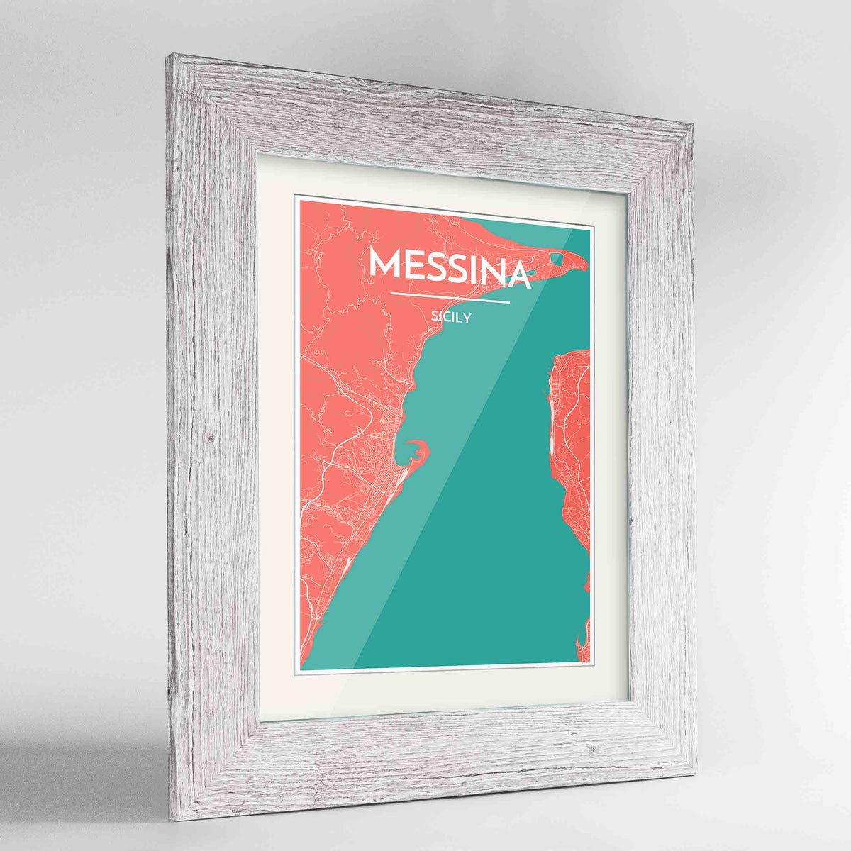 "Framed Messina Map Art Print 24x36"" Western White frame Point Two Design Group"