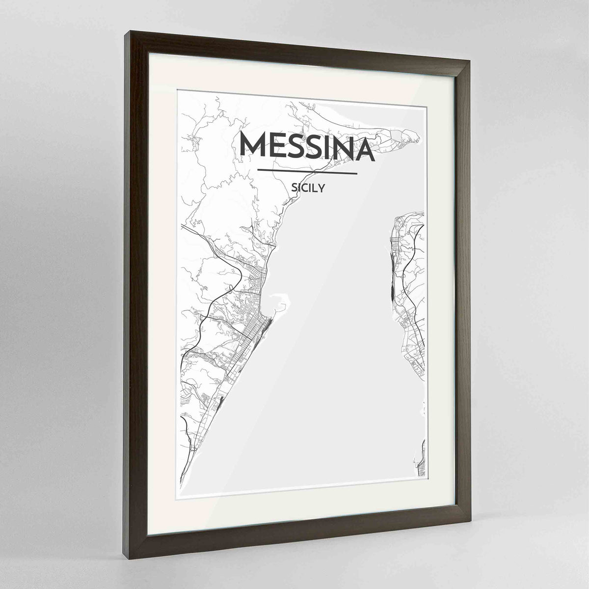 "Framed Messina Map Art Print 24x36"" Contemporary Walnut frame Point Two Design Group"