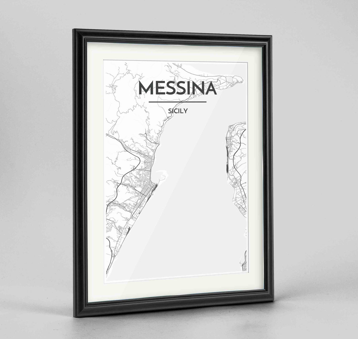 "Framed Messina Map Art Print 24x36"" Traditional Black frame Point Two Design Group"