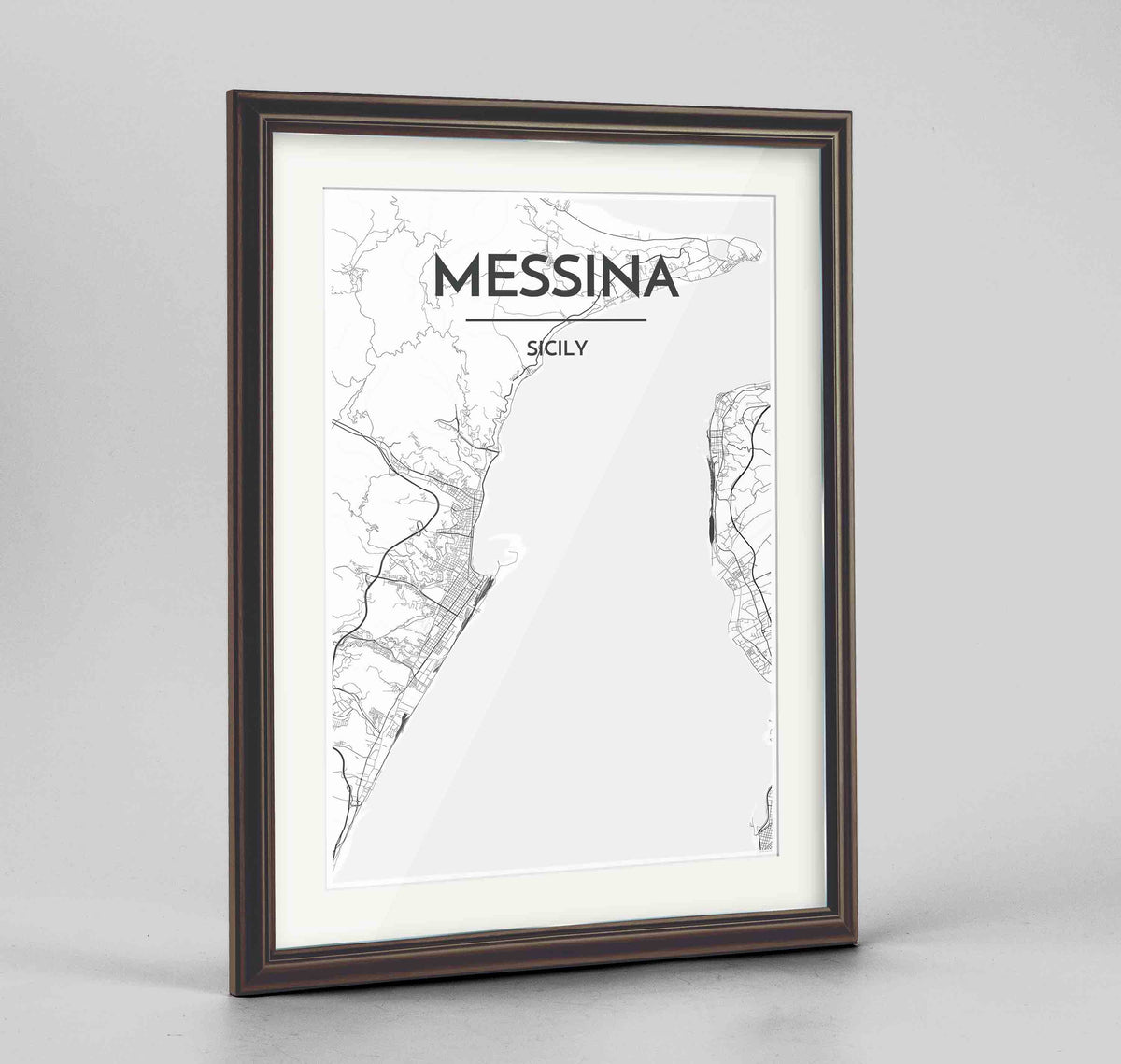 "Framed Messina Map Art Print 24x36"" Traditional Walnut frame Point Two Design Group"