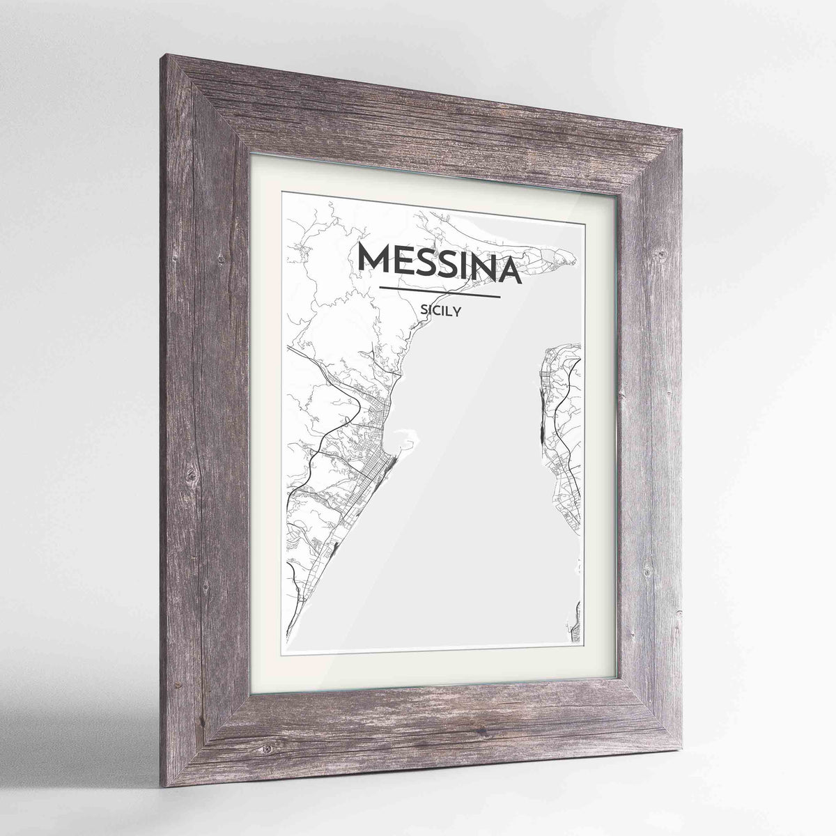 "Framed Messina Map Art Print 24x36"" Western Grey frame Point Two Design Group"
